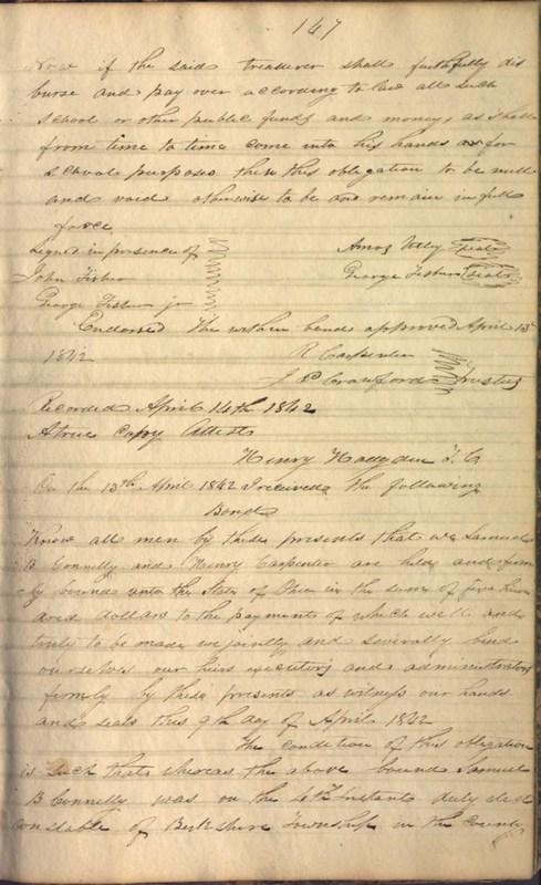 Record Book of Berkshire Township No. 2 1807-1843 (p. 161)