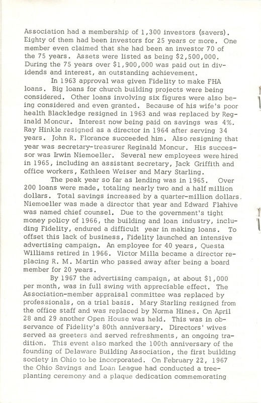 Fidelity Federal Savings and Loan Association 100 Years (p. 17)