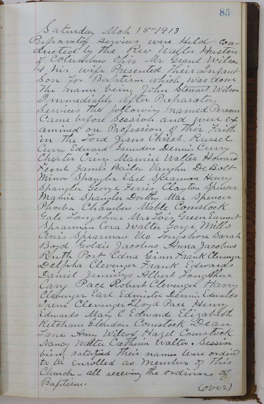 Sessional Records of the 1st Presbyterian Church of Trenton Delaware County Ohio 1873-1937 (p. 89)