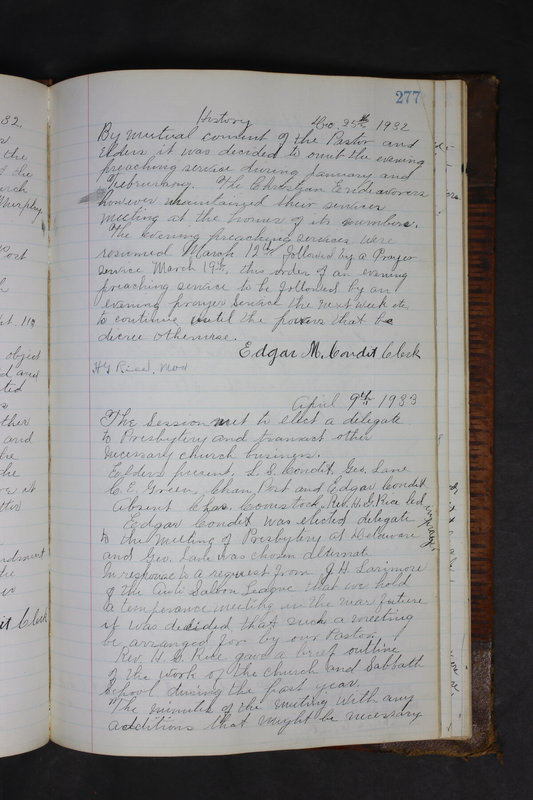 Sessional Records of the 1st Presbyterian Church of Trenton Delaware County Ohio 1873-1937 (p. 264)