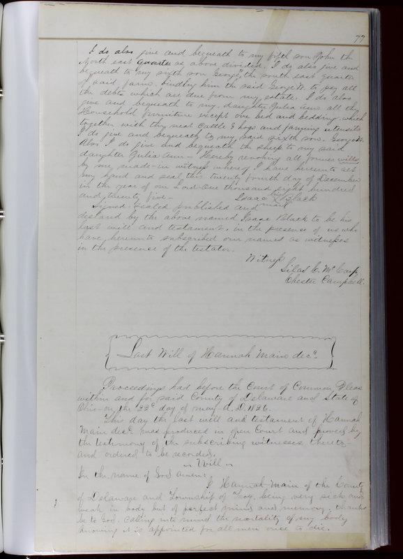Delaware County Ohio Will Records Vol. 1 1812-1835 (p. 109)