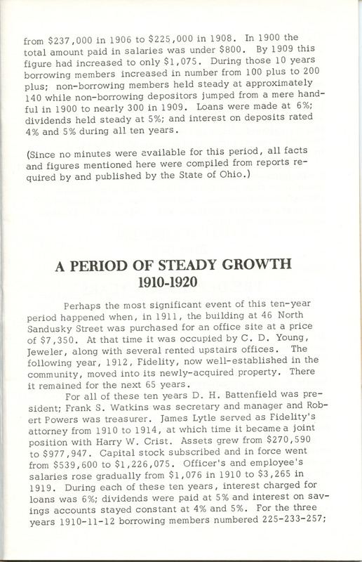 Fidelity Federal Savings and Loan Association 100 Years (p. 8)