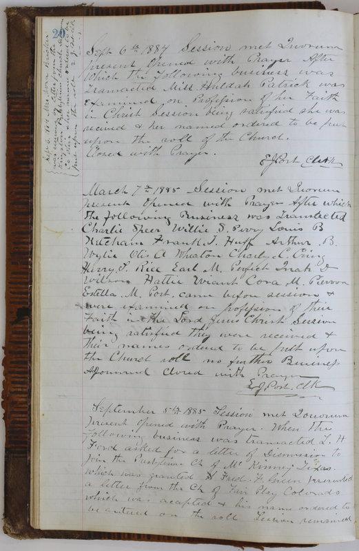 Sessional Records of the 1st Presbyterian Church of Trenton Delaware County Ohio 1873-1937 (p. 24)
