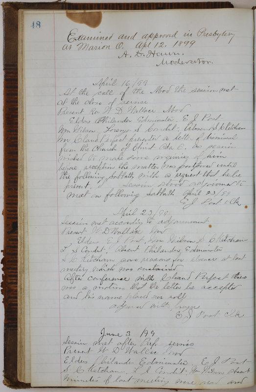 Sessional Records of the 1st Presbyterian Church of Trenton Delaware County Ohio 1873-1937 (p. 52)