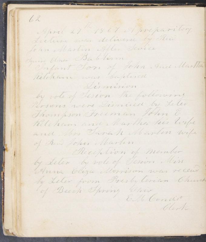Sessional Records of the 1st Presbyterian Church of Trenton, Delaware Co., Ohio, 1831 (p. 68)