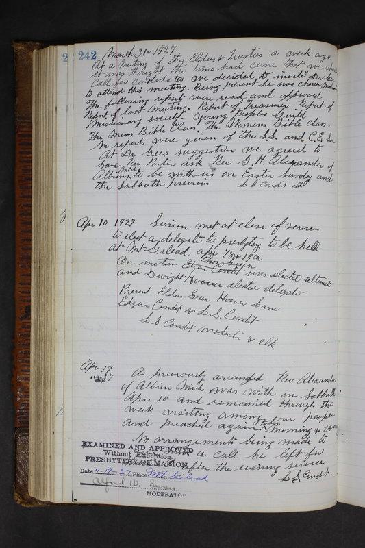 Sessional Records of the 1st Presbyterian Church of Trenton Delaware County Ohio 1873-1937 (p. 230)