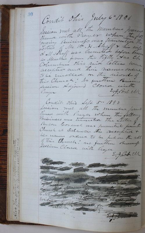 Sessional Records of the 1st Presbyterian Church of Trenton Delaware County Ohio 1873-1937 (p. 34)