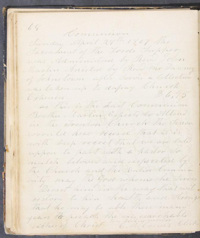 Sessional Records of the 1st Presbyterian Church of Trenton, Delaware Co., Ohio, 1831 (p. 74)