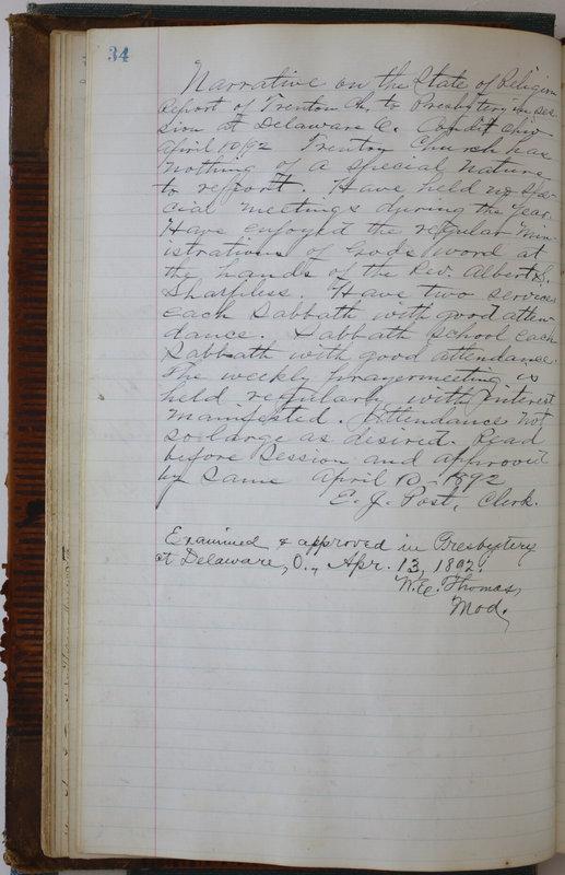 Sessional Records of the 1st Presbyterian Church of Trenton Delaware County Ohio 1873-1937 (p. 38)