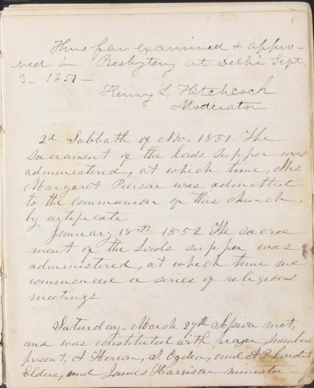 Sessional Records of the 1st Presbyterian Church of Trenton, Delaware Co., Ohio, 1831 (p. 11)