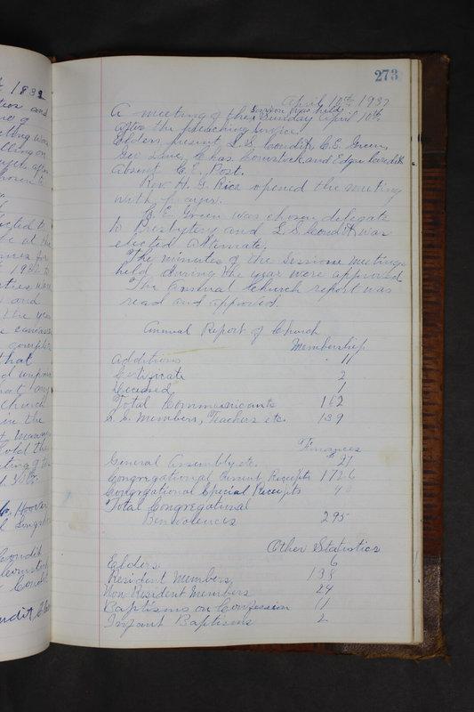 Sessional Records of the 1st Presbyterian Church of Trenton Delaware County Ohio 1873-1937 (p. 260)