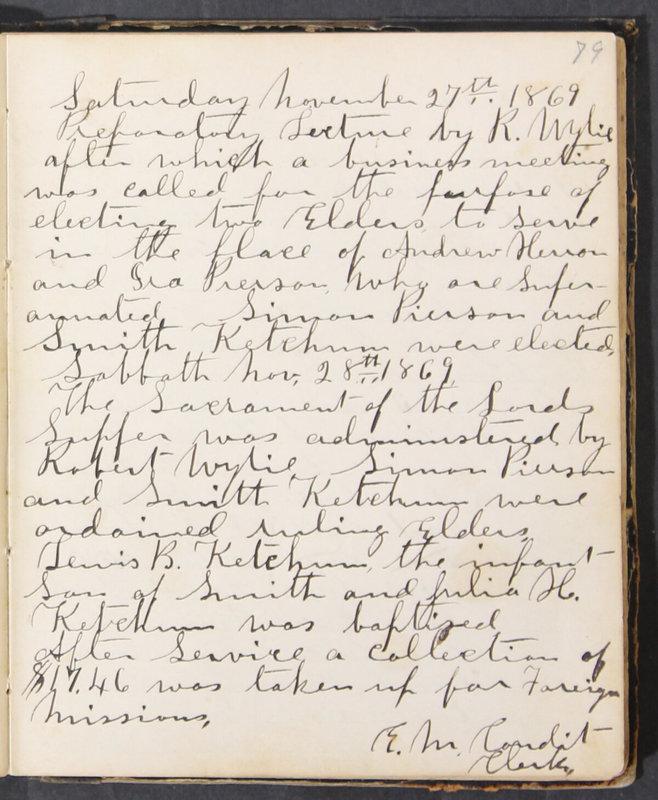 Sessional Records of the 1st Presbyterian Church of Trenton, Delaware Co., Ohio, 1831 (p. 85)