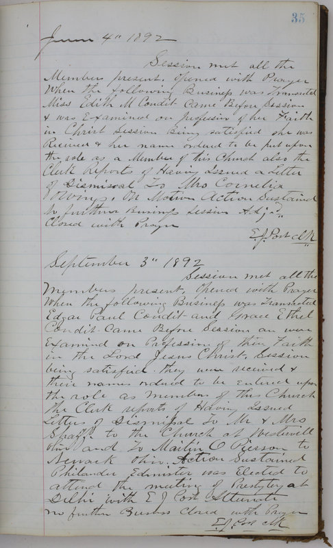 Sessional Records of the 1st Presbyterian Church of Trenton Delaware County Ohio 1873-1937 (p. 39)