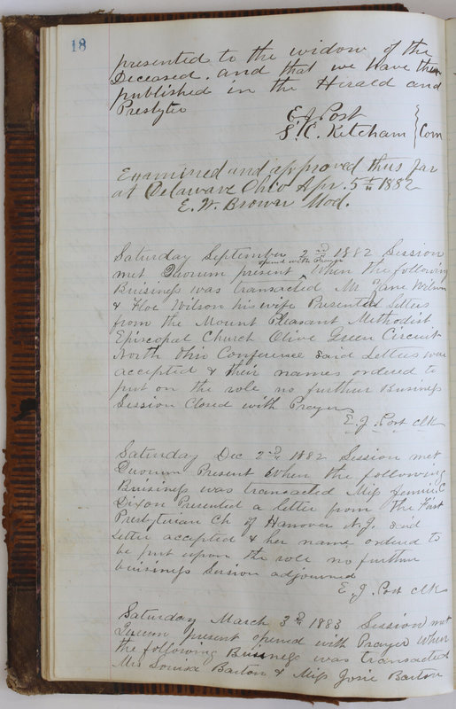 Sessional Records of the 1st Presbyterian Church of Trenton Delaware County Ohio 1873-1937 (p. 22)