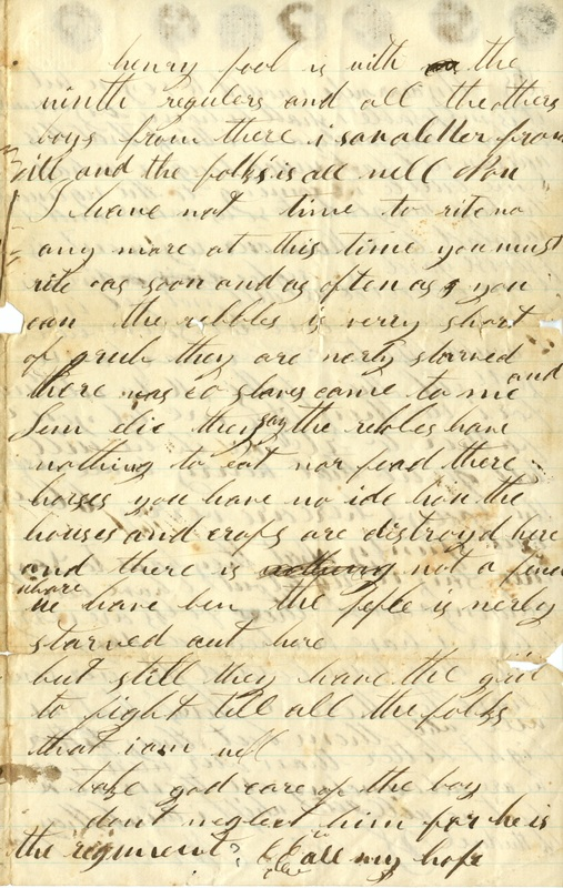 Mitchell Family Civil War Letters (p. 3)
