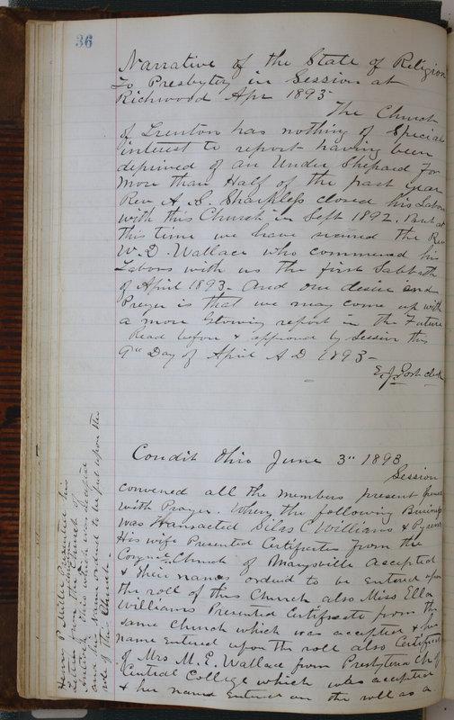 Sessional Records of the 1st Presbyterian Church of Trenton Delaware County Ohio 1873-1937 (p. 40)