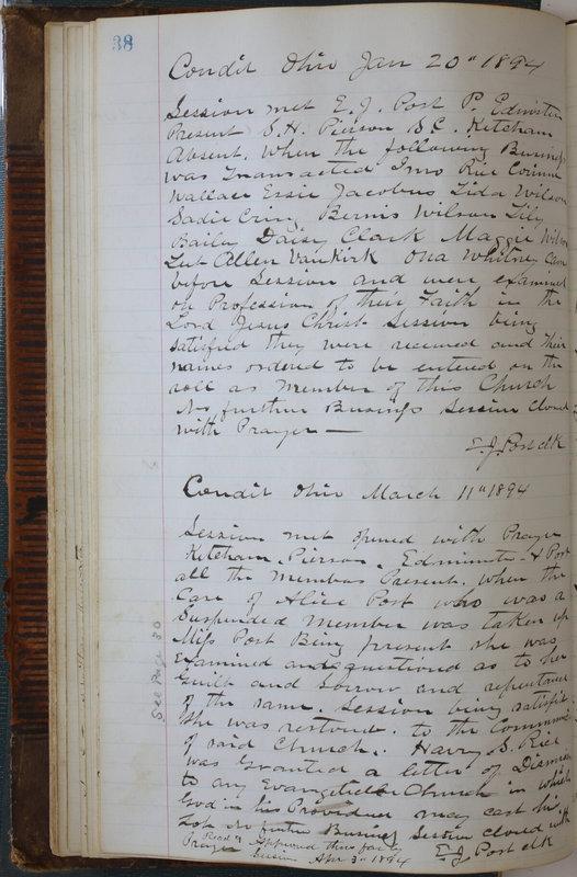 Sessional Records of the 1st Presbyterian Church of Trenton Delaware County Ohio 1873-1937 (p. 42)