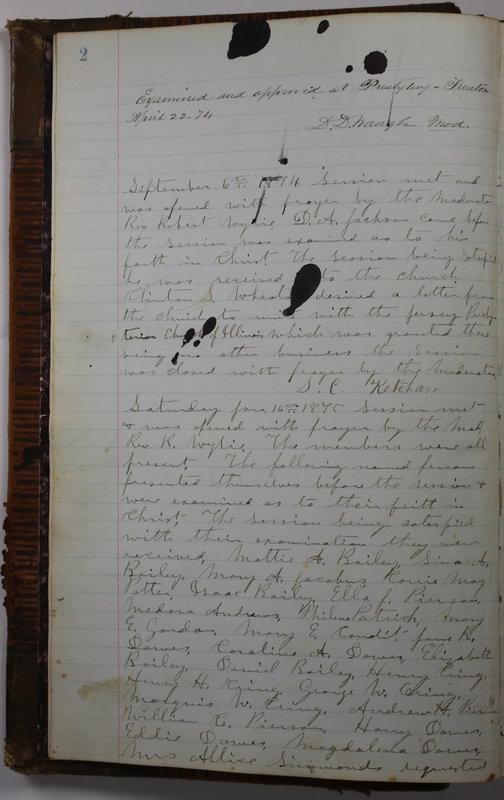 Sessional Records of the 1st Presbyterian Church of Trenton Delaware County Ohio 1873-1937 (p. 8)