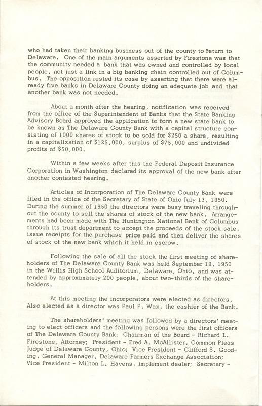 Delaware County Bank 1950-1975 (p. 3)
