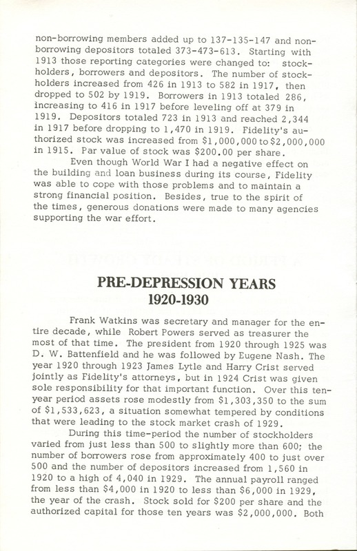 Fidelity Federal Savings and Loan Association 100 Years (p. 9)