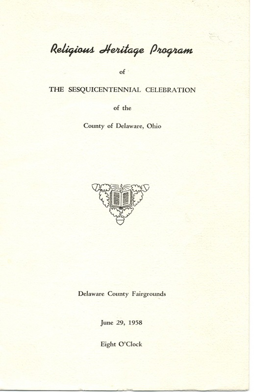 Religious Heritage Program of the Sesquicentennial Celebration of the County of Delaware, Ohio (p. 1)