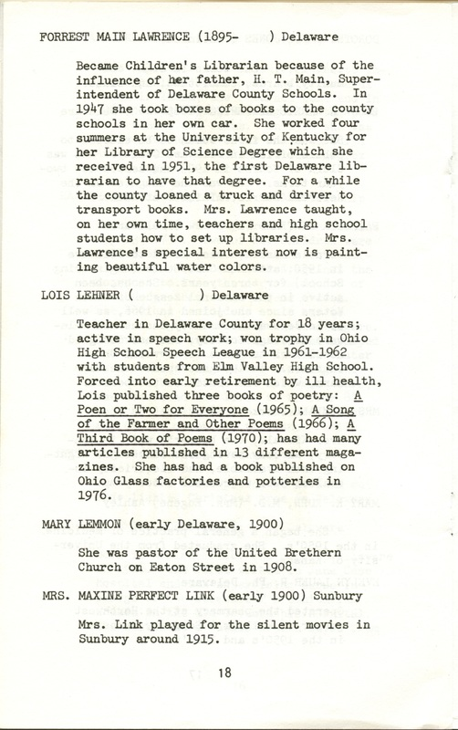 Some Delaware County Women Past and Present (p. 23)