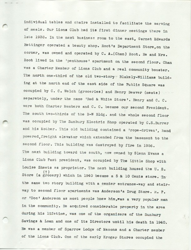 The Sunbury and Galena Communities and how they were in 1938 when Sunbury Lions Club Originated (p. 3)
