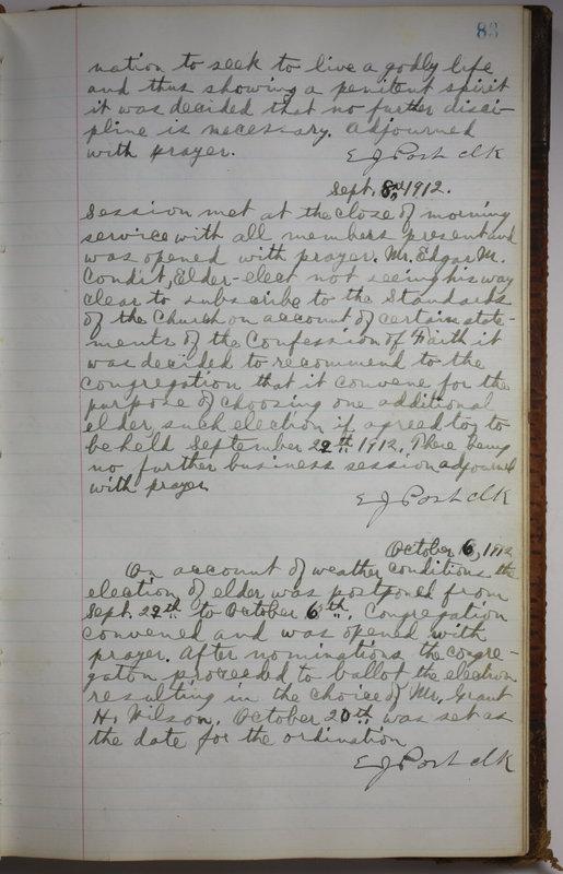 Sessional Records of the 1st Presbyterian Church of Trenton Delaware County Ohio 1873-1937 (p. 87)