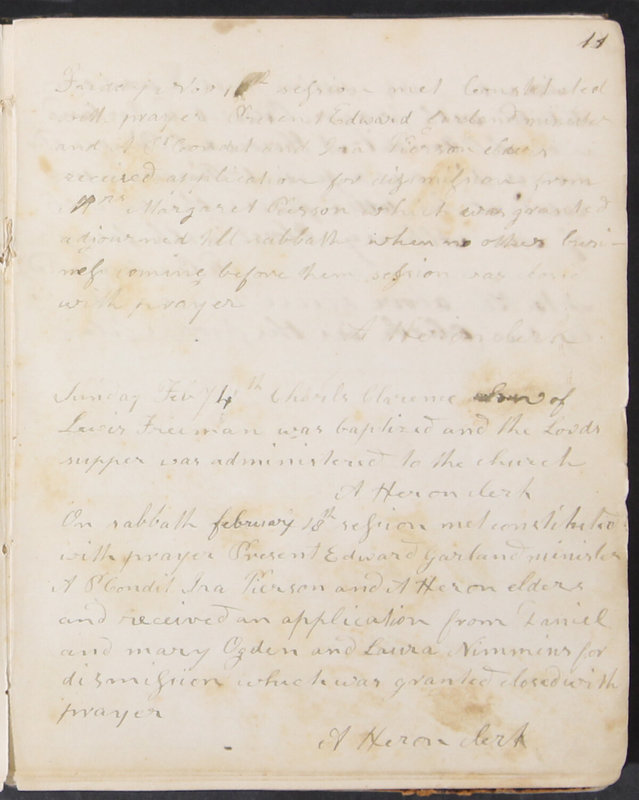 Sessional Records of the 1st Presbyterian Church of Trenton, Delaware Co., Ohio, 1831 (p. 17)