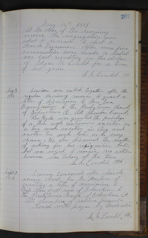 Sessional Records of the 1st Presbyterian Church of Trenton Delaware County Ohio 1873-1937 (p. 195)