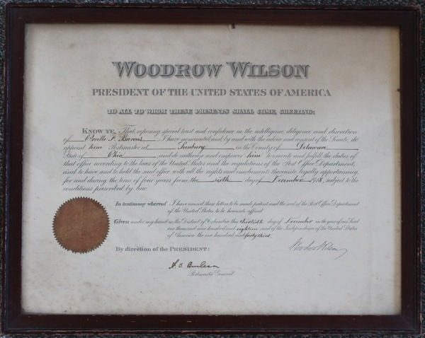 Orville Barcus Postmaster Certificate 1918