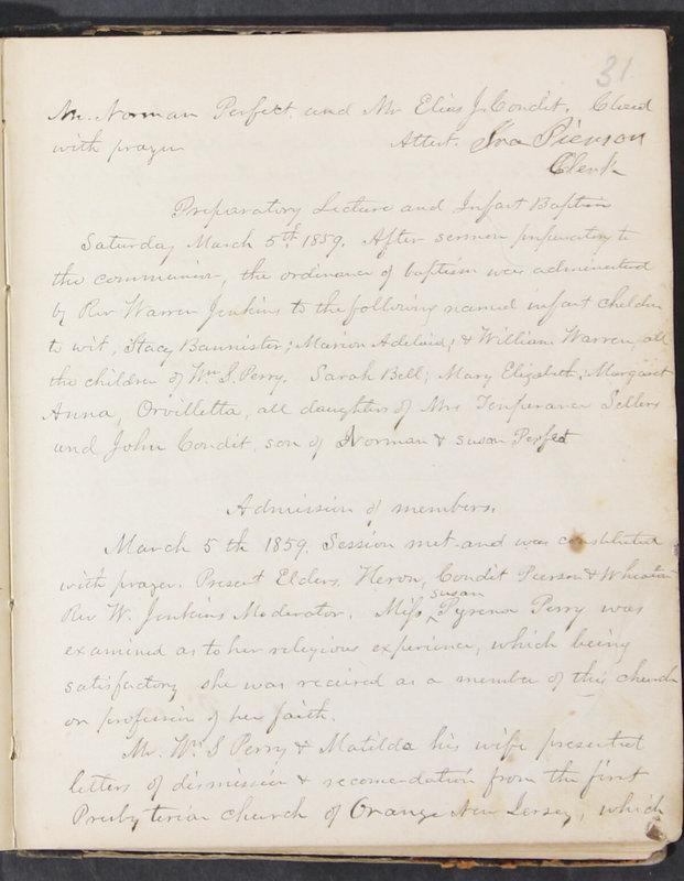 Sessional Records of the 1st Presbyterian Church of Trenton, Delaware Co., Ohio, 1831 (p. 37)