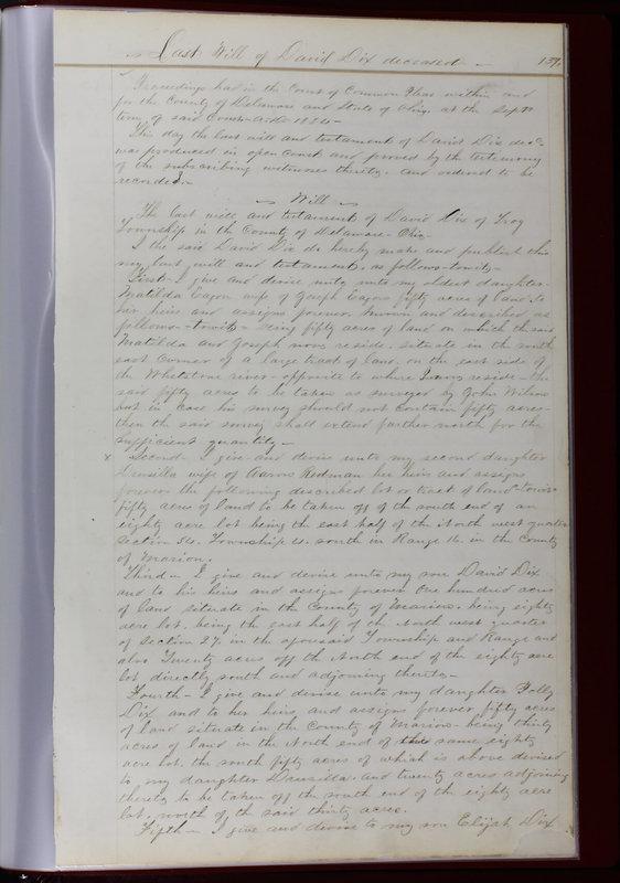Delaware County Ohio Will Records Vol. 1 1812-1835 (p. 171)