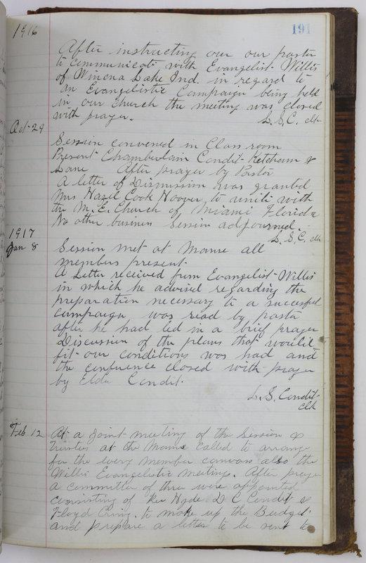 Sessional Records of the 1st Presbyterian Church of Trenton Delaware County Ohio 1873-1937 (p. 179)