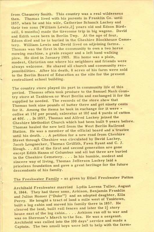Berlin Township Program of the Delaware County Historical Society (p. 11)