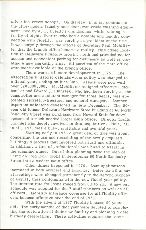 Fidelity Federal Savings and Loan Association 100 Years (p. 20)