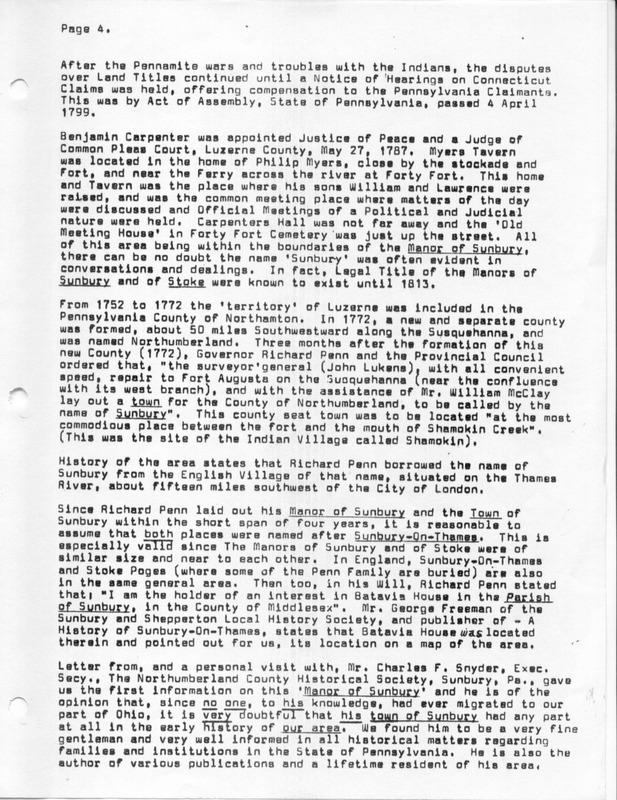 The Origin of the Name Sunbury (p. 4)