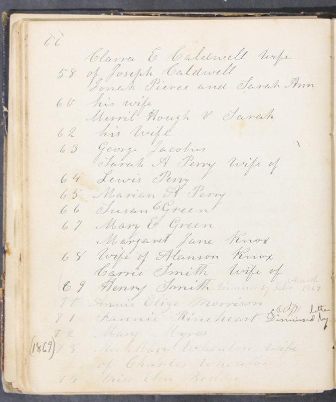 Sessional Records of the 1st Presbyterian Church of Trenton, Delaware Co., Ohio, 1831 (p. 72)