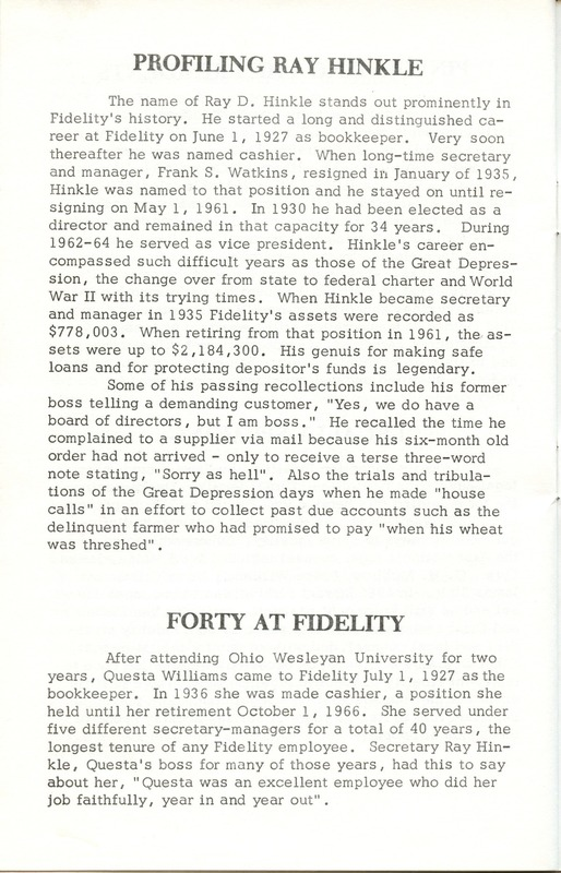 Fidelity Federal Savings and Loan Association 100 Years (p. 29)