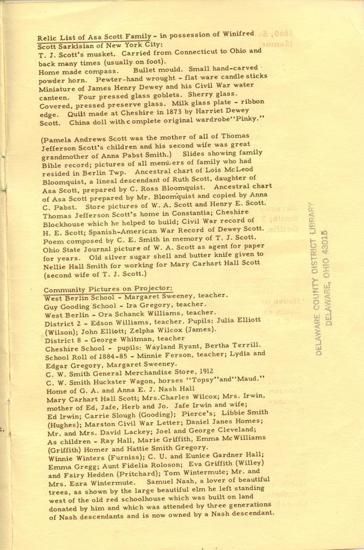 Berlin Township Program of the Delaware County Historical Society (p. 15)