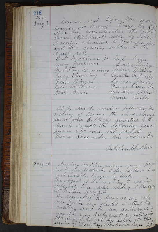 Sessional Records of the 1st Presbyterian Church of Trenton Delaware County Ohio 1873-1937 (p. 206)