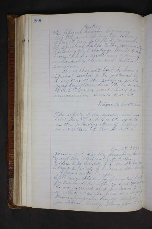 Sessional Records of the 1st Presbyterian Church of Trenton Delaware County Ohio 1873-1937 (p. 255)