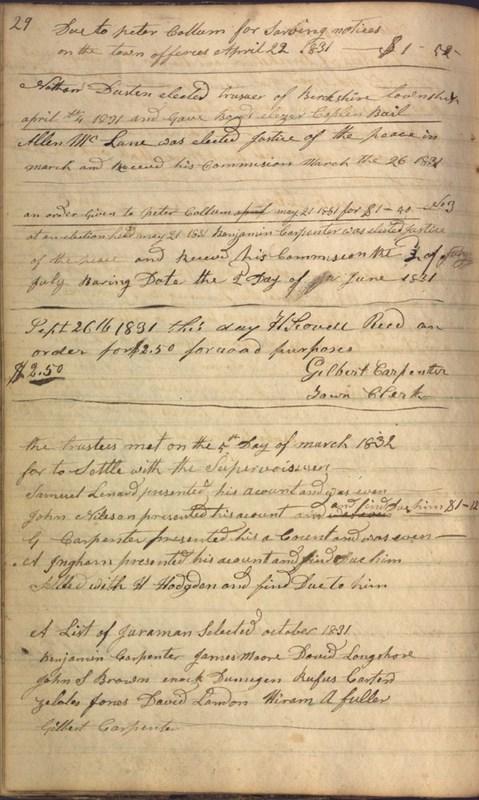 Record Book of Berkshire Township No. 2 1807-1843 (p. 42)