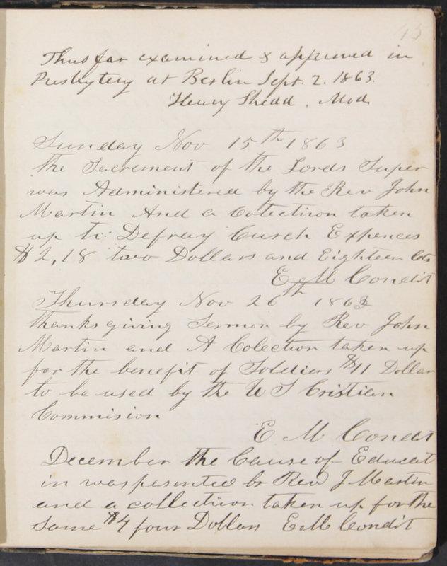 Sessional Records of the 1st Presbyterian Church of Trenton, Delaware Co., Ohio, 1831 (p. 51)