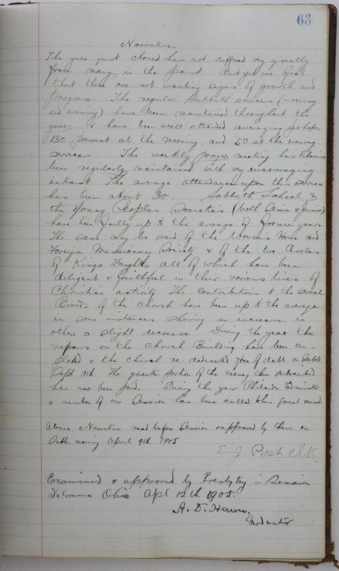 Sessional Records of the 1st Presbyterian Church of Trenton Delaware County Ohio 1873-1937 (p. 67)