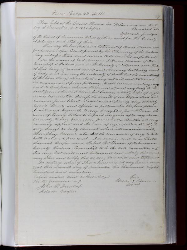 Delaware County Ohio Will Records Vol. 1 1812-1835 (p. 51)