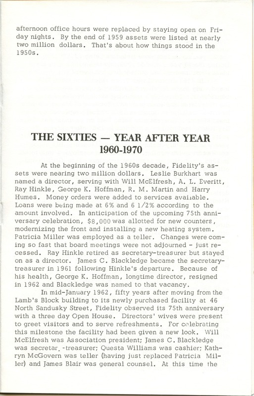 Fidelity Federal Savings and Loan Association 100 Years (p. 16)