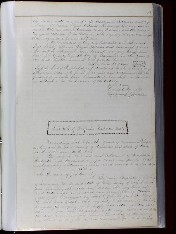 Delaware County Ohio Will Records Vol. 1 1812-1835 (p. 65)