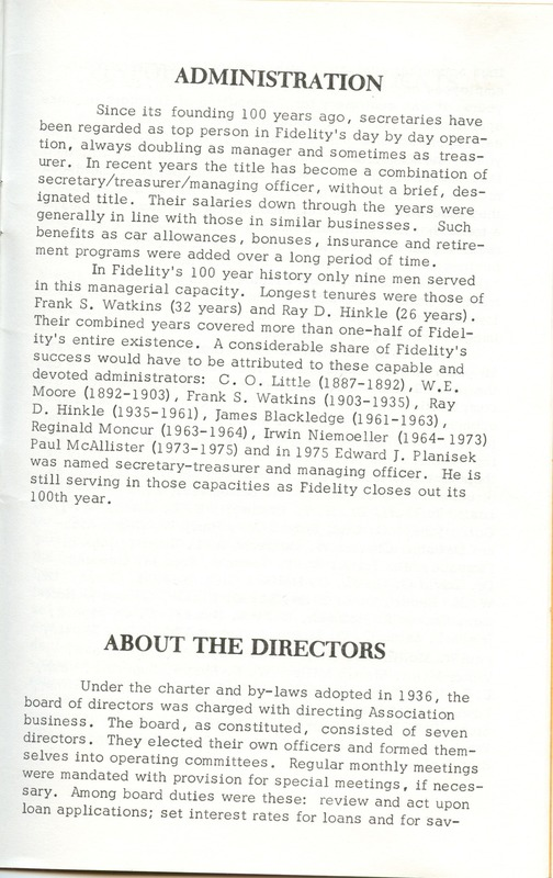 Fidelity Federal Savings and Loan Association 100 Years (p. 26)