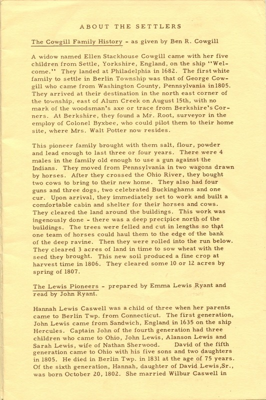 Berlin Township Program of the Delaware County Historical Society (p. 3)